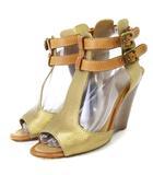 クロエ CHLOE サンダル ウェッジソール ベルト レザー 茶 ブラウン系 38.5 靴 ■SM
