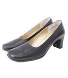 ヒミコ 卑弥呼 パンプス スクエアトゥ レザー 黒 ブラック 22.5 シューズ 靴