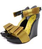 ダイアナ DIANA サンダル ウェッジソール 厚底 リボン エナメル 黒 ブラック ゴールド系 L 靴
