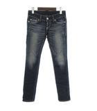マウジー moussy デニム パンツ ジーンズ USED加工 スリム インディゴ 紺 ネイビー 25 小さいサイズ