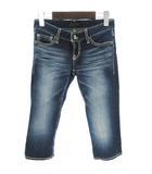 マウジー moussy パンツ デニム ジーンズ カプリ ショート USED加工 青 ブルー 24 小さいサイズ