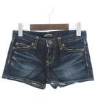 マウジー moussy パンツ ショート デニム USED加工 紺 ネイビー 24 小さいサイズ