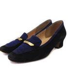 バーバリーズ Burberrys パンプス スエード レザー スクエアトゥ 黒 ブラック 紫 パープル系 23 靴 ■SM