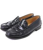 トッズ TOD'S プレーン ローファー エナメル レザー 黒 ブラック 36 靴 ■SM