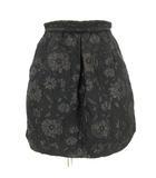 ジルスチュアート JILL STUART ミニ丈 スカート 花柄 ジャガード 黒 ブラック 0 ■SM