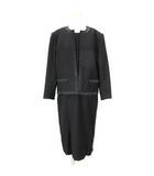 ユキトリイ YUKI TORII セットアップ スーツ ワンピース 5分袖 ひざ丈 ノーカラー ジャケット ウール 黒 ブラック 13