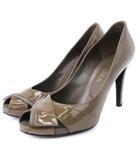 ダイアナ DIANA パンプス オープントゥ エナメル 茶 ブラウン系 25 靴 大きいサイズ
