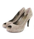 ダイアナ DIANA パンプス ピープトゥ スエード 茶 ブラウン 21.5 シューズ 靴 小さいサイズ