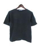 セントジェームス SAINT JAMES Tシャツ カットソー 半袖 ボーダー 紺 緑 ネイビー グリーン SM