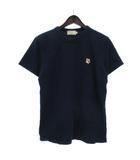 メゾンキツネ MAISON KITSUNE Tシャツ 半袖 丸首 クルーネック ワンポイント 刺繍 キツネ コットン 紺 ネイビー XS