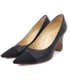 シャネル CHANEL パンプス ポインテッドトゥ レザー ココマーク 黒 ブラック 36.5 靴 IBS76