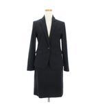 スーツ スカート シャドーストライプ シングル 1B ひざ丈 濃紺 ネイビー M