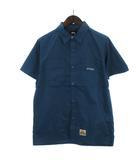 ステューシー STUSSY ワークシャツ 半袖 胸ポケット バッグロゴ 刺繍 コットン 紺 ネイビー S