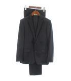 19SS セットアップ スーツ フォーマル ジャケット テーラード シングル 2B パンツ スラックス センタープレス ウール 無地 ブラック 34