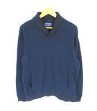 ブルーブルー BLUE BLUE ニット セーター トレーナー プルオーバー 襟付き 総柄 ネイビー ※Y