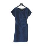 クリスチャンディオール Christian Dior ドレス ワンピース フレンチスリーブ ギャザー シルク シャイニー ネイビー 34