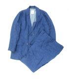 フランクリーダー FRANK LEDER VINTAGE WOVEN BLUE LINEN スーツ セットアップ テーラードジャケット パンツ スラックス ネイビー ※Y