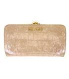 ミュウミュウ miumiu 財布 ウォレット がま口 クロコ型押し レザー ピンクベージュ