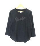 ナンバーナイン NUMBER (N)INE Tシャツ カットソー ロンT クルーネック カットオフ ロゴプリント 4 黒 ブラック