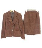 モガ MOGA セットアップ スカートスーツ ツイード ジャケット スカート チェック ウール 2 赤 茶 緑