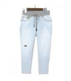 ダブルスタンダードクロージング ダブスタ DOUBLE STANDARD CLOTHING スウェットパンツ デニムパンツ ドッキング イージー 36 ブルー グレー