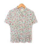 プラダ PRADA シャツ ブラウス 小花柄 半袖 背タック 40 アイボリー ピンク