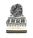 コムサパサージュ COMME CA PASSAGE ニット帽 帽子 ネイティブ柄 ボンボン アイボリー ブラック