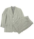 パパス Papas セットアップ スーツ ジャケット パンツ 背抜き リネン S カーキ IBS28