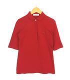 ラコステ LACOSTE SLIM FIT ポロシャツ 五分袖 鹿の子 ストレッチ 赤 レッド 34