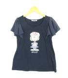レトロガール RETRO GIRL × PEANUTS ピーナッツ カットソー Tシャツ 半袖 シフォンスリーブ SALLY プリント M 紺