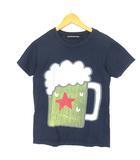 メルシーボークー mercibeaucoup Tシャツ カットソー プリント ロゴ 半袖 クルーネック コットン ネイビー