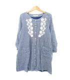 ショコラフィネローブ chocol raffine robe ロング シャツ チュニック ワンピース ミニ ストライプ フラワー レース 刺繍 7分 5分袖 ノーカラー 青 白