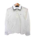 アディダス adidas ポロシャツ 長袖 ロゴ ダブルカラー 千鳥格子 M ホワイト 白