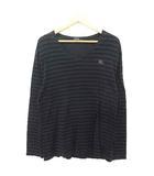 バーバリーブラックレーベル BURBERRY BLACK LABEL Tシャツ カットソー ボーダー 刺繍 Vネック 長袖 コットン 3 黒