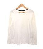 ブラックレーベルクレストブリッジ BLACK LABEL CRESTBRIDGE Tシャツ カットソー ロゴ刺繍 Vネック 長袖 コットン 3 白