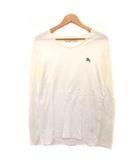 バーバリーブラックレーベル BURBERRY BLACK LABEL Tシャツ カットソー 刺繍 ワンポイント 長袖 コットン 3 白 グレー