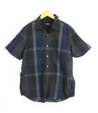 ブラックレーベルクレストブリッジ BLACK LABEL CRESTBRIDGE シャツ 半袖 チェック柄 ポケット コットン ネイビー LL
