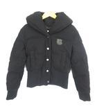 コーチ COACH ダウンジャケット ショート丈 レザーロゴ ウール スナップボタン ブラック 黒 0 IBS41