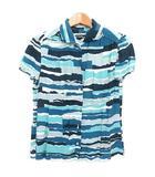ミナペルホネン mina perhonen シャツ ブラウス 半袖 総柄 レーヨン 青 ブルー IBS41