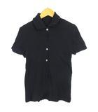 ツモリチサト TSUMORI CHISATO シャツ クリンクル 半袖 フリル ストレッチ ネイビー 紺 2