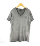 ディーゼル DIESEL Tシャツ 半袖 カットソー Vネック ウォッシュ加工 ポケット グレー S ■VG0