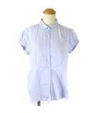 マーガレットハウエル MARGARET HOWELL ブラウス シャツ 半袖 プルオーバー ピンストライプ ブルー 1