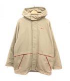 ナイキ NIKE ジャケット 中綿 フード付 ジップアップ ベルクロ ベージュ 赤 XL ■VG0