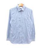 クミキョク 組曲 KUMIKYOKU シャツ ダブルポケット 長袖 刺繍 コットン ブルー 2 ■VG0