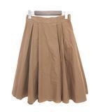 ナチュラルビューティーベーシック NATURAL BEAUTY BASIC スカート ミモレ タック フレア コットン ナイロン ブラウン M ■VG