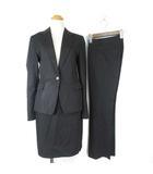 アンタイトル UNTITLED スーツ 3点セット ストライプ ジャケット パンツ スカート ウール ブラック 1 ■VG