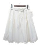ナチュラルビューティーベーシック NATURAL BEAUTY BASIC スカート ひざ丈 イレギュラータック コットンナイロン ベルト付 ホワイト 白 M