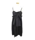グレースクラス GRACE Class キャミワンピース ドレス ひざ丈 花柄 バラ チュールレース リボン 36 黒 ブラック IBO3