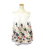 ベアトップ カットソー ノースリーブ ホルターネック 刺繍 フラワー 花柄 36 マルチカラー ホワイト IBO3