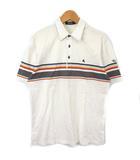 ポロシャツ 半袖 マルチボーダー ロゴ 刺繍 白 マルチ 3 IBO3
